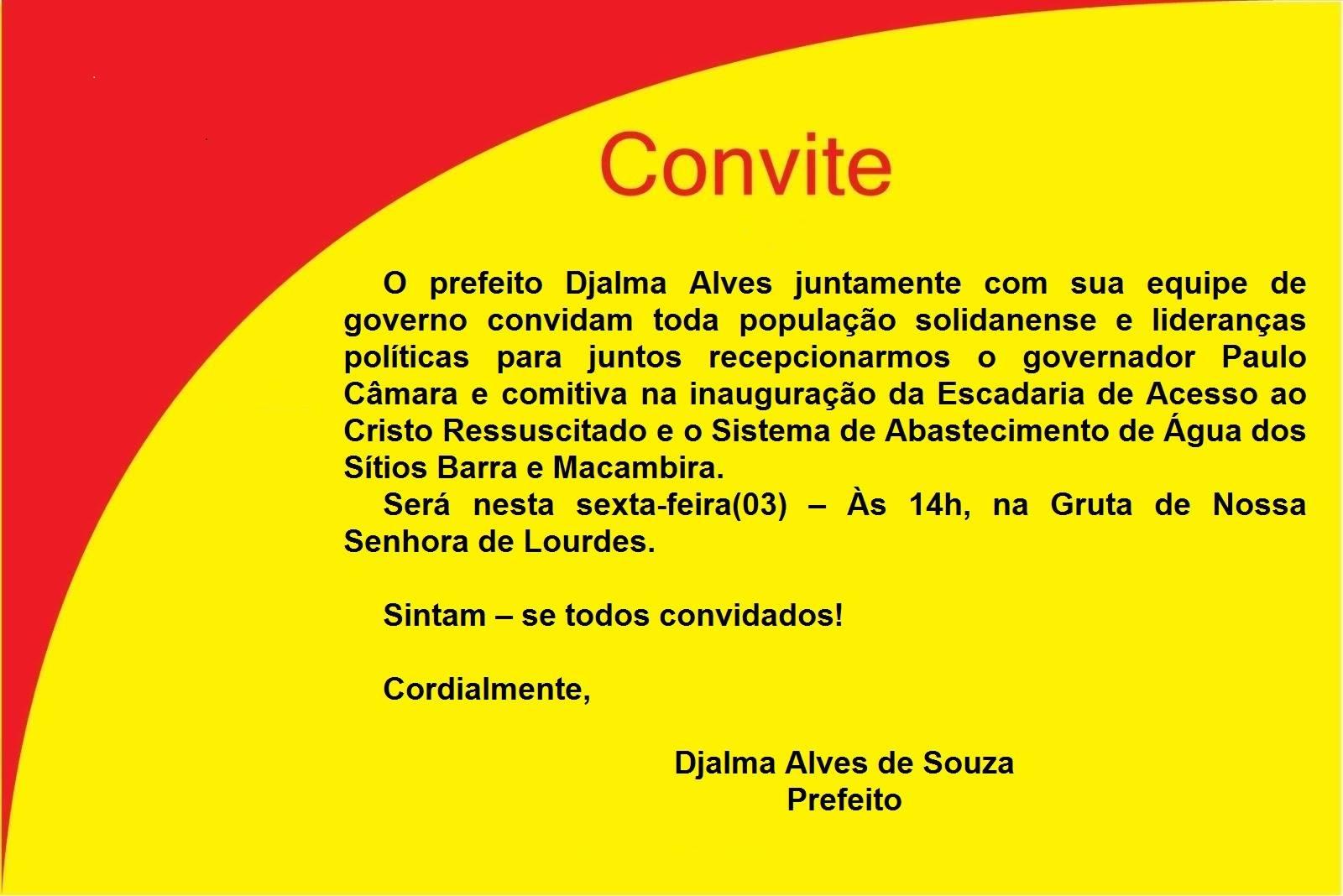 Convite da prefeitura para inauguração da escadaria