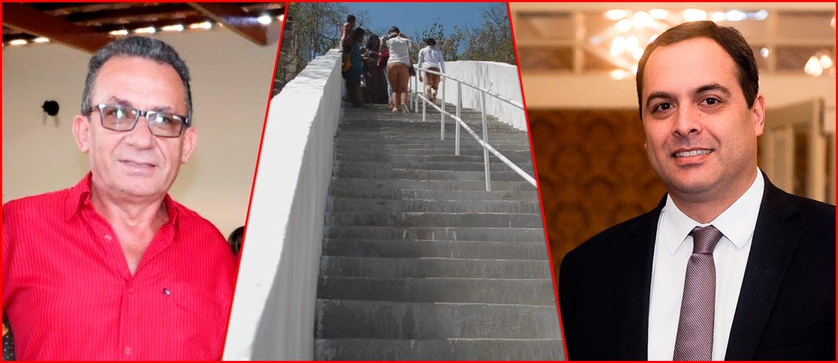 Governador Paulo Câmara vem a Solidão para inaugura junto a Djalma Alves a escadaria de acesso ao Cristo Ressuscitado – Foto: Reprodução/ S1 Notícias