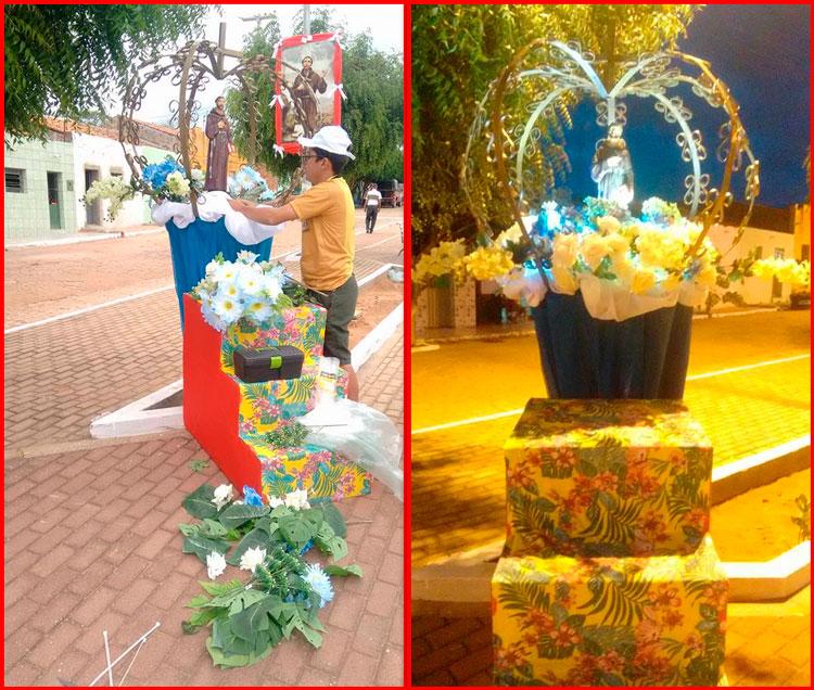 Equipe da secretária de Cultura finalizando as ornamentações – Foto: Divulgação