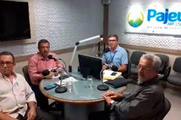 Prefeito Djalma Alves, Zeinha Torres, Lino Morais e Nill Junior no Debate das Dez na Rádio Pajeú – Foto: Reprodução