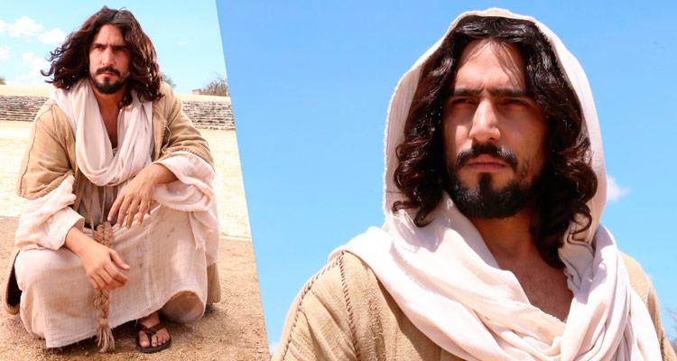 Renato Góes no papel de Jesus para a Paixão de Cristo de Nova Jerusalém – Foto: Divulgação