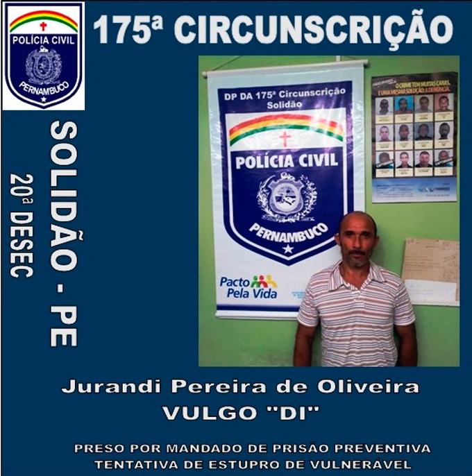 Jurandi Pereira foi indiciado por tentar estuprar uma mulher com problemas mentais – Foto: Divulgação/ Policia