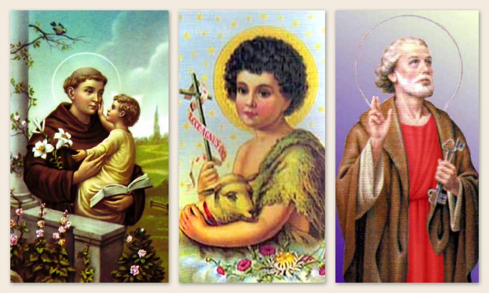 Imagens dos três santos católicos - Foto: Reprodução/Lagoa Seca Em Foco