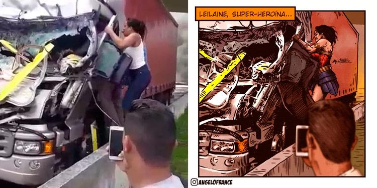 Mulher que ajudou caminhoneiro no acidente de Boechat é de Sertânia