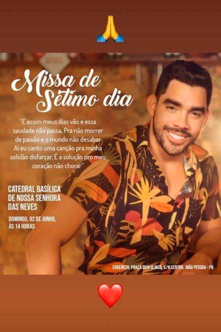 Missa de 7º dia de Gabriel Diniz será aberta ao público