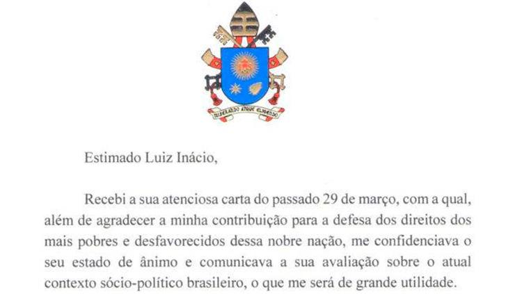 Papa Francisco envia carta a Lula oferecendo 'proximidade espiritual'