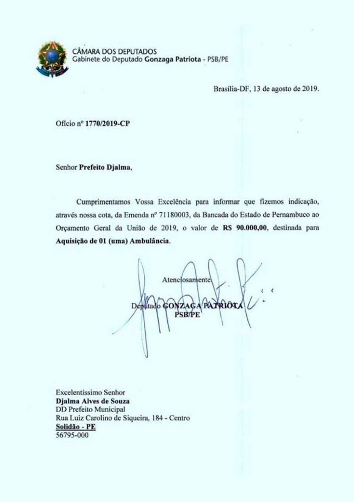 Ofício enviado ao Prefeito Djalma Alves/Foto-Divulgação