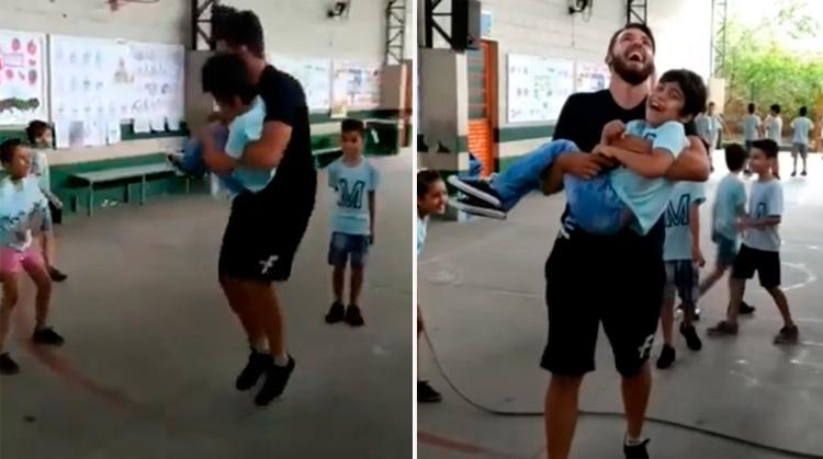 Professor pula corda com aluno cadeirante no colo e viraliza