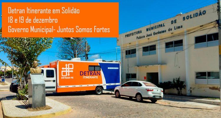 Detran Itinerante atenderá em Solidão nos dias 18 e 19 de dezembro