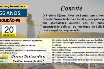 Solidão anuncia programação da festa dos seus 56 anos