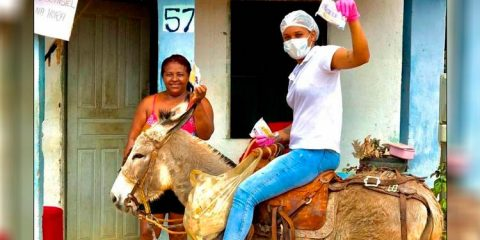 Na Bahia, enfermeira usa jegue para entregar kits na pandemia
