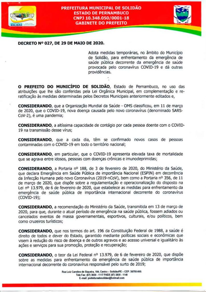 Prefeitura de Solidão comunica novo decreto municipal