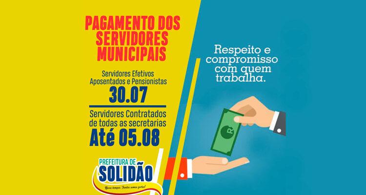 Prefeitura de Solidão paga julho a servidores