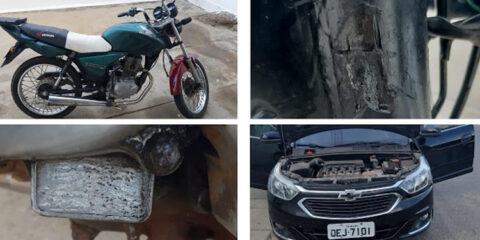 Homens flagrados com carro clonado, moto adulterada, munições e drogas em Solidão