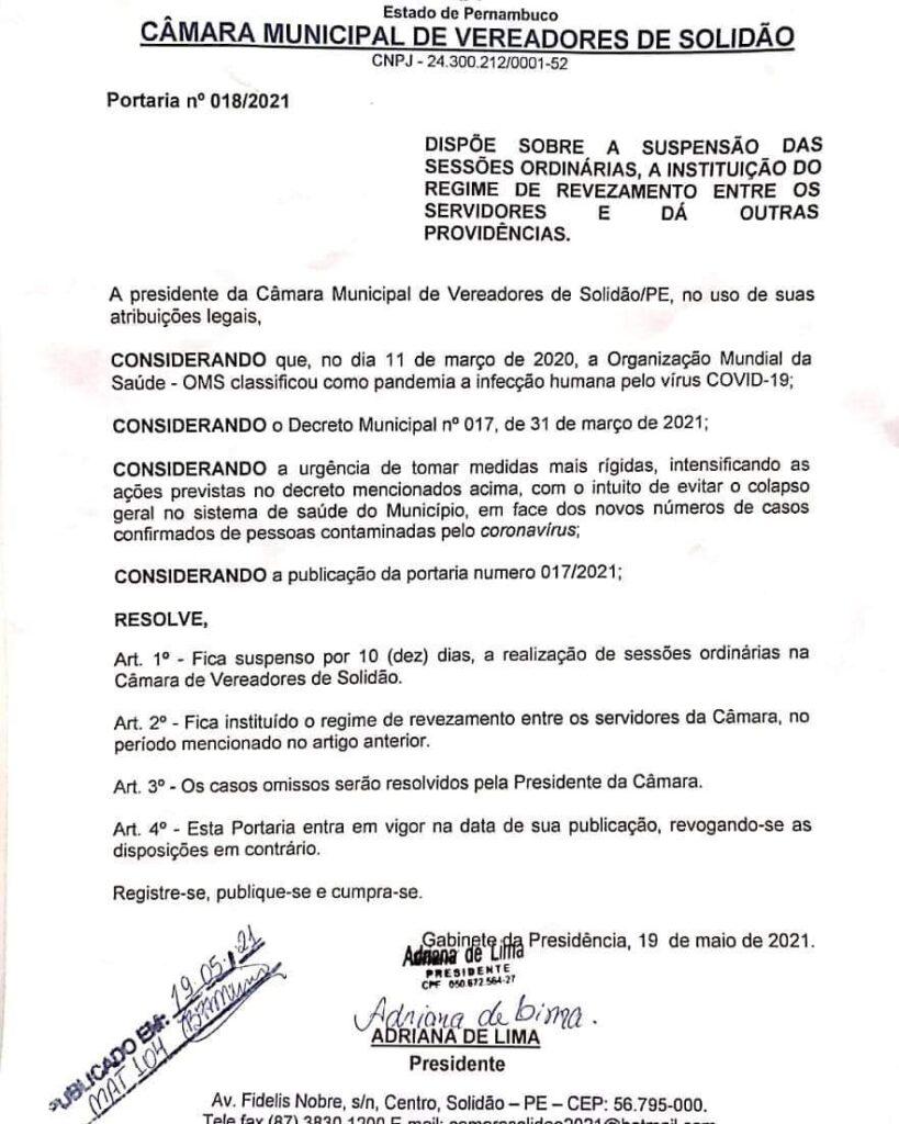 Presidente da Câmara Municipal de Vereadores de Solidão suspende sessões por 10 dias