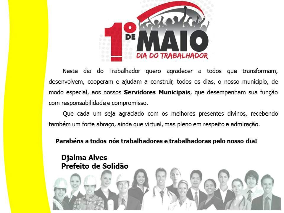 Mensagem do Prefeito Djalma Alves aos trabalhadores