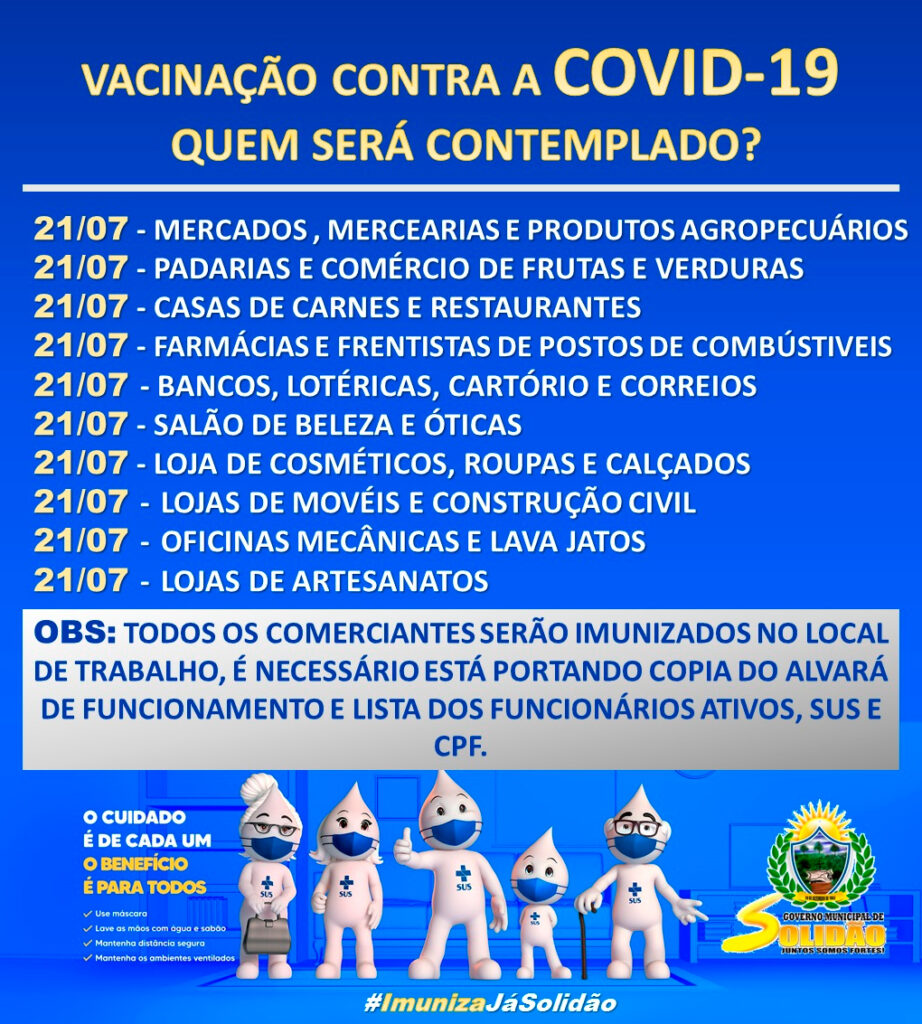 Em Solidão inicia vacinação dos comerciantes locais na quarta-feira 21, contra a Covid-19