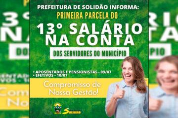 Prefeitura de Solidão antecipa primeira parcela do 13º salário