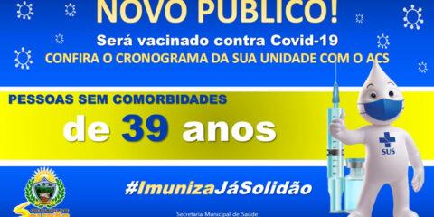 Solidão começa a vacinar pessoas sem comorbidades de 39 anos