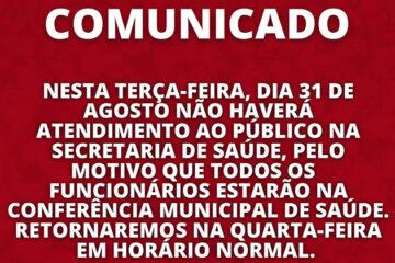 Em Solidão não haverá atendimento ao público na secretária de saúde nesta terça 31