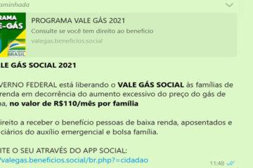 PF alerta sobre novo golpe que promete vale-gás social de R$ 110 para famílias de baixa renda