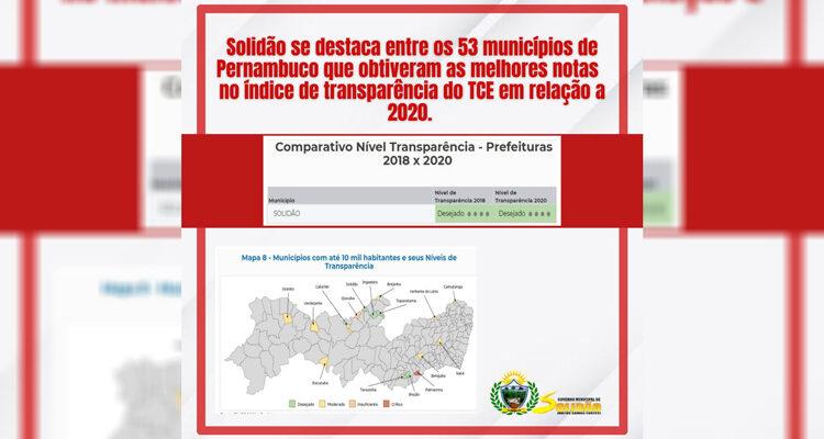 Prefeitura de Solidão é destaque no Índice de Transparência do TCE 2020
