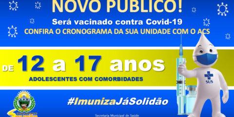 Solidão começa a vacinar pessoas sem comorbidades de 12 a 17 anos