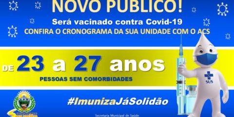 Solidão começa a vacinar pessoas sem comorbidades de 23 a 27 anos