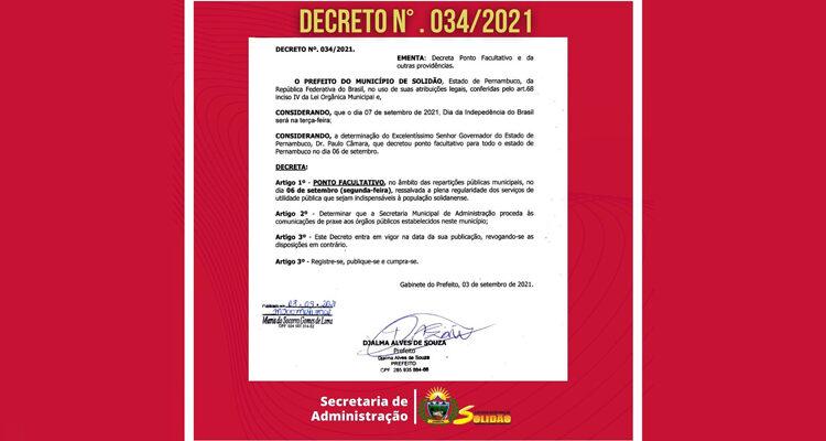 Feriado prolongado: Governo de Solidão decreta ponto facultativo no dia 6 de setembro