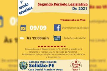 Primeira sessão Itinerante da Câmara Municipal de Vereadores será realizada em Solidão